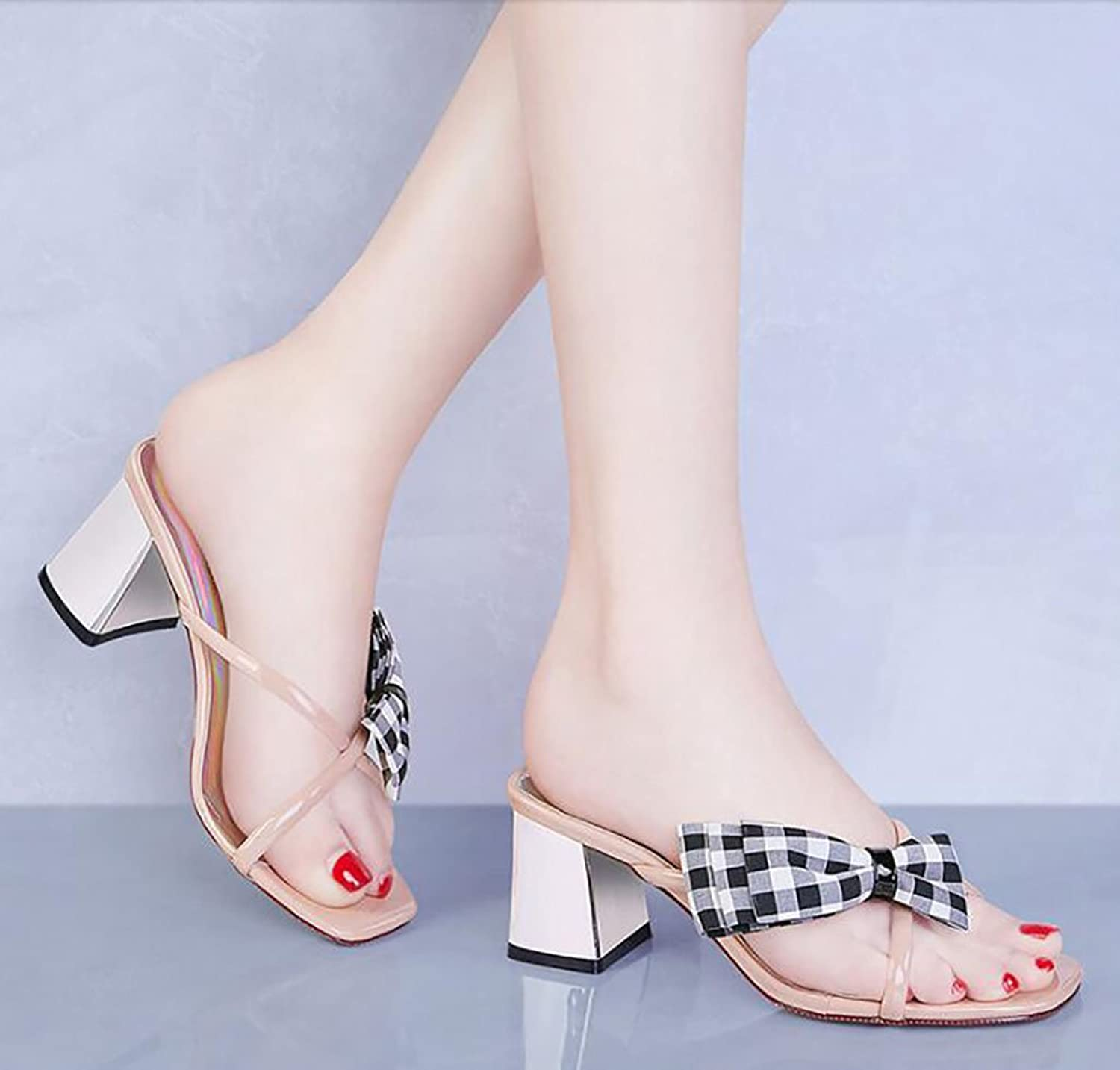 Sandals and Slippers Women's Summer Korean Version of The Wild Thick with Slippers wear Stylish high Heels shoes Flat Sandals,Fashion Sandals (color   B, Size   34)