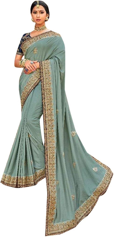 Celadon Designer Party wear Satin Silk Sari for Women Indian Zari work Saree with Blouse 7635