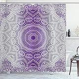 ABAKUHAUS Grau & Lila Duschvorhang, Mandala Hippie, mit 12 Ringe Set Wasserdicht Stielvoll Modern Farbfest & Schimmel Resistent, 175x180 cm, Violett