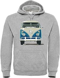 Sudadera con capucha unisex para niños, diseño de autobús y furgoneta