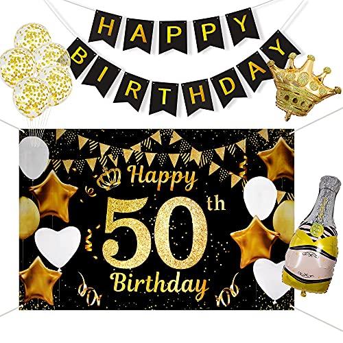 50 Años Decoración de Fiesta de Cumpleaños de Oro Negro, Taumie Póster de Tela Cartel Extra Grande para 50 Aniversario Feliz Cumpleaños Pancarta, Banderas de Cumpleaños, 7 Pcs Globos de Cumpleaños