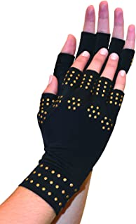 Magnetic Arthritis Therapy Fingerless Compression Gloves, Black, Black, Regular