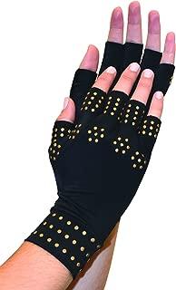 Magnetic Arthritis Therapy Fingerless Compression Gloves Black Black Regular