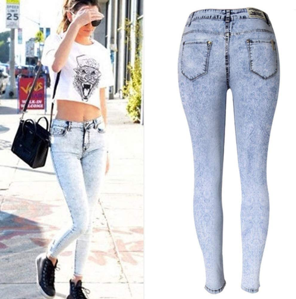 KBCJUA Skinny Femme Crayon Jeans Comfy Pencil Pants Vintage High Waist Jeans Women Casual Stretch Skinny Jeans Femme Snow Wash Blue Slim Fit Jeans Sky Blue