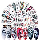 25 Sheets Halloween Nail Stickers Day of The Dead Nail Art Accessories Decals Ghost Skull Eye Clown Hulk Water Transfer Nail Art Stickers for Halloween Party Fingernails Toenails Decorations