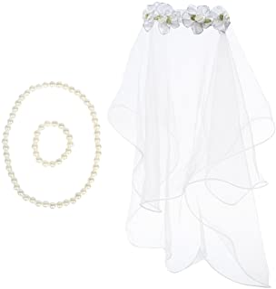 kilofly دختران First communion گل روسری گل مبانی + مجموعه ارزش دستبند گردنبند