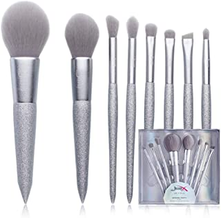 Jessup Brush Set - Powder Blush Blending Contour Eyebrow Eye Shadow Brushes for Girl and Woman with Case (Silver)