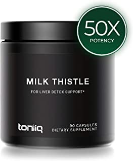 Ultra High Strength Milk Thistle Capsules - 25,000mg 50x Concentrated Extract - The Strongest Milk Thistle Supplement Available - 80% Silymarin - Liver Support Supplement - 90 Capsules