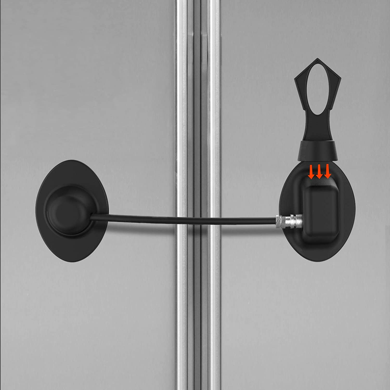 Refrigerator Lock, Childproof Fridge Lock with Magnetic- Strong 3M Adhesives and Cable, Super Convenience (Black)