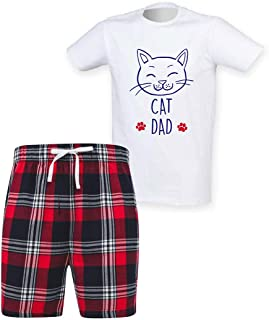 60 Second Makeover Limited Mens Cat Dad Tartan Short Pyjama Set Family Matching Fathers Day Twinning
