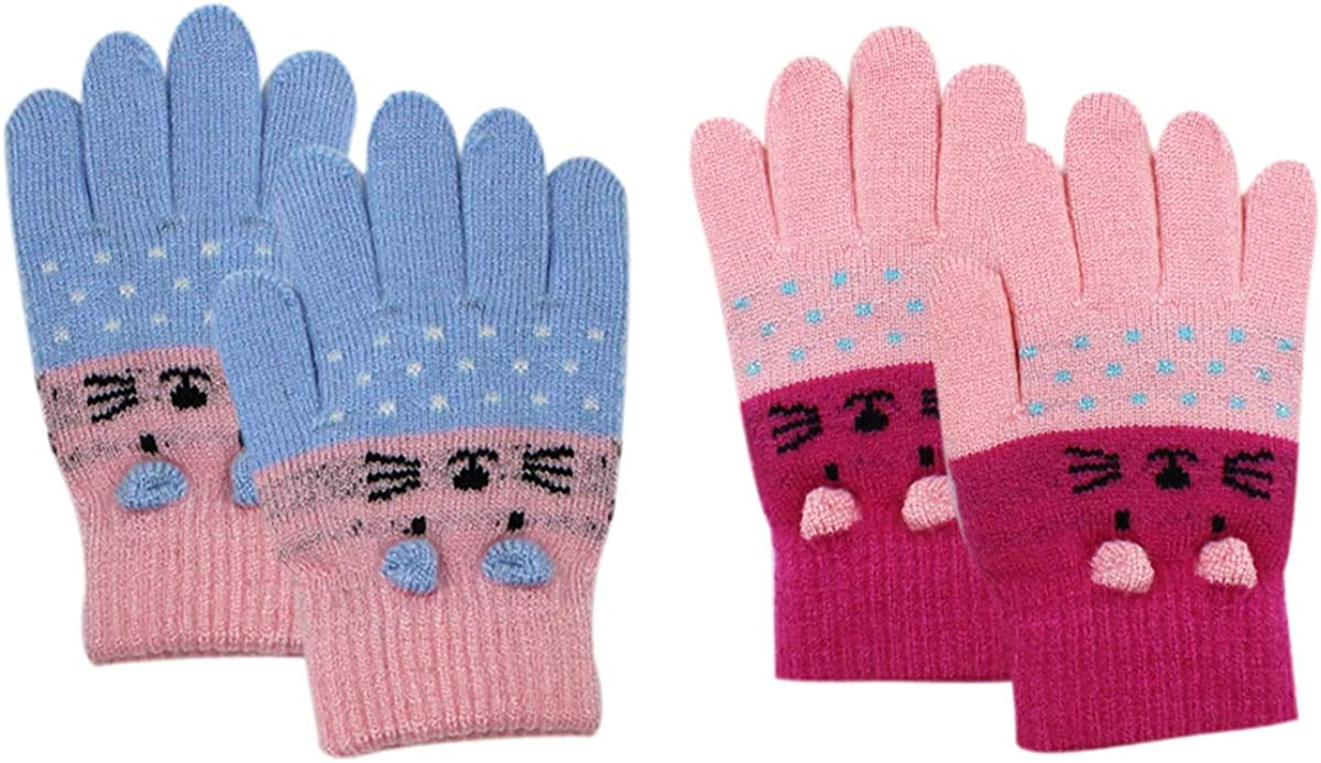 RARITYUS 2 or 3 Pairs Kids Cute Cat Warm Gloves Winter Knitted Mittens for Boys Girls Toddler 2-6 Years old