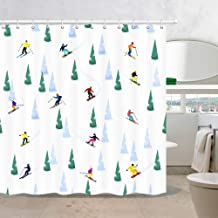 Winter Sports Shower Curtains, Motivational Activity Skiing Sporter with Christmas Tree in Snow, Polyester Fabric Waterpro...