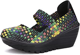 Ruiatoo Women's Comfortable Walking Shoes Wedge Platform Sandals Woven Pumps Mary Jane Shoes