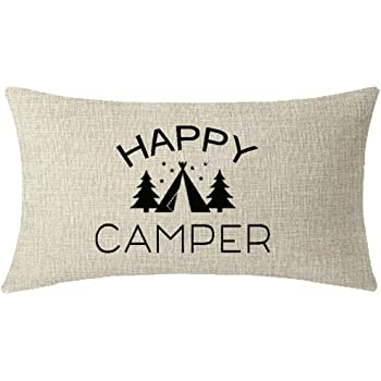 ITFRO Nice Sister Gift with Funny Sayings Happy Camper Tent Cream Burlap Throw Pillow Case Cushion Cover Couch Sofa Decorative Rectangle 12x20 inches…