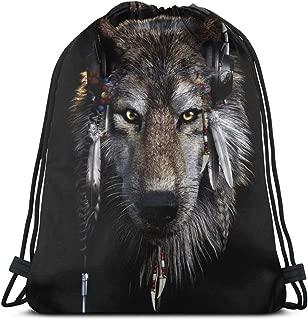Native American Wolf Drawstring Bag Backpack Gym Dance Bag Backpack for Hiking Beach Travel Bags 14.2 x 16.9 Inch