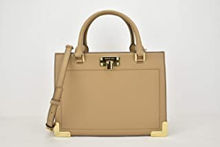 Michael Kors 35S9GYKS6L Kinsley Medium Accordion Leather Crossbody Satchel Bag - DK Khaki
