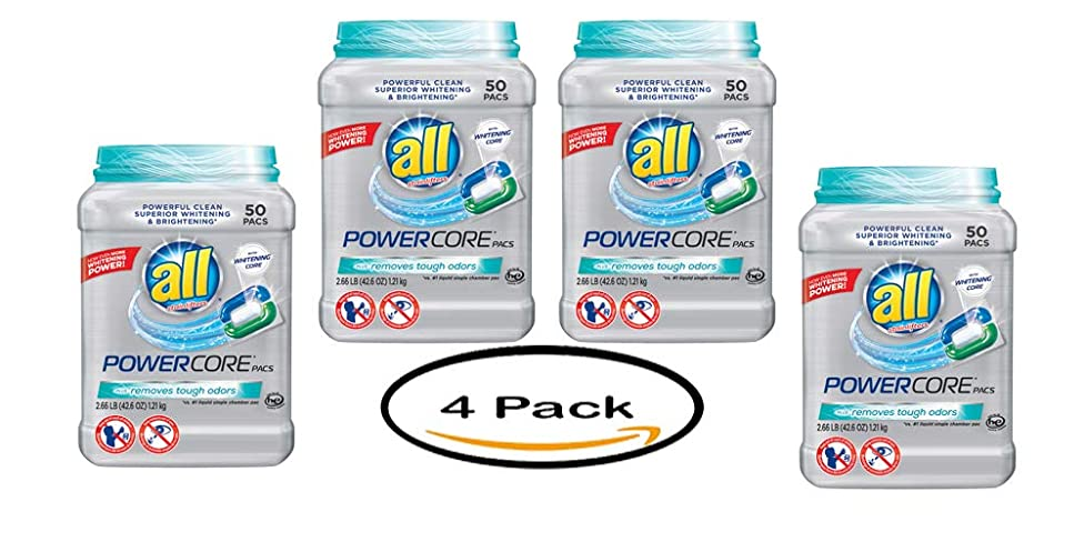 PACK OF 4 - all POWERCORE PACS Laundry Detergent 50 ct Tub