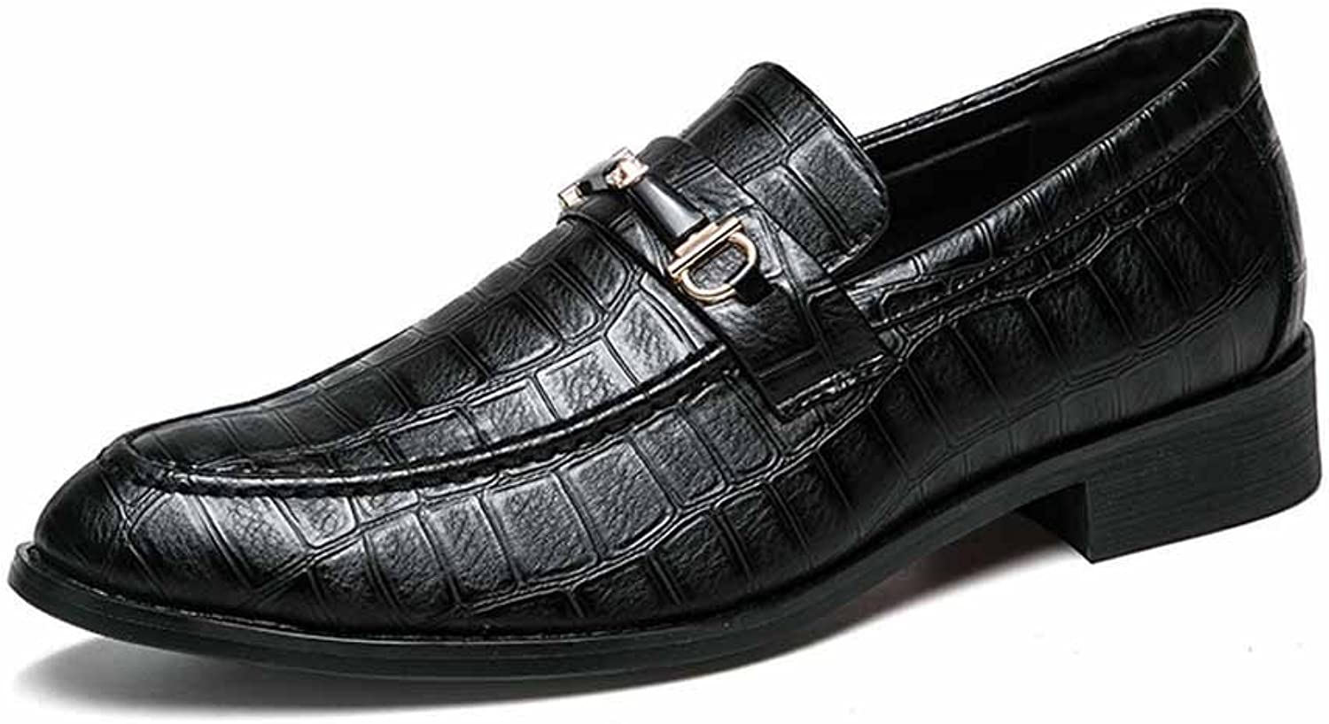 GLSHI Men British Fashion Oxford Trendy Pointed Crocodile Pattern Business Leather shoes