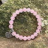 Braccialetto di pietra Donne, 7 chakra naughty pietra naturale perlina rosa quarzo quarzo braccialetto elastico fortunato braccialetto yoga argento arte cuore cavo gioielli pendente per le donne FLYAN