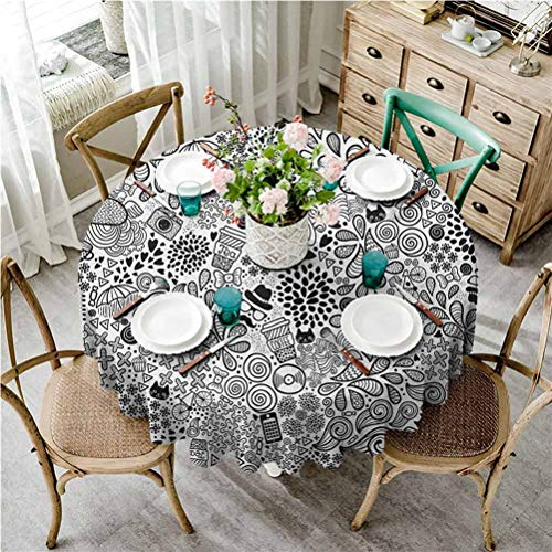 ScottDecor Doodle Round Table Cover Hipster Inspired Abstract Drawing Cupcake Tea Umbrella Leaves and Many Other Shapes Tablecloth for Spring/Summer/Party/Picnic (Round, 40 Diameter)
