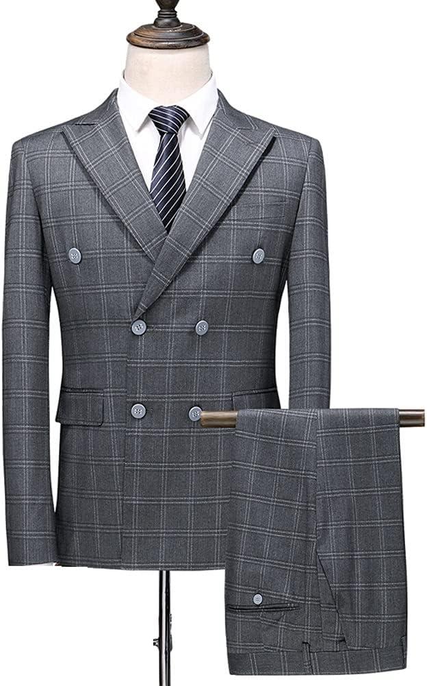 UXZDX (Suit + Vest + Pants New Men's Checked Double Breasted Suit 3 Pieces/Men's Stylish Business Casual Suit/Mens Tuxedo (Color : Gray, Size : 4XL 81-85kg)