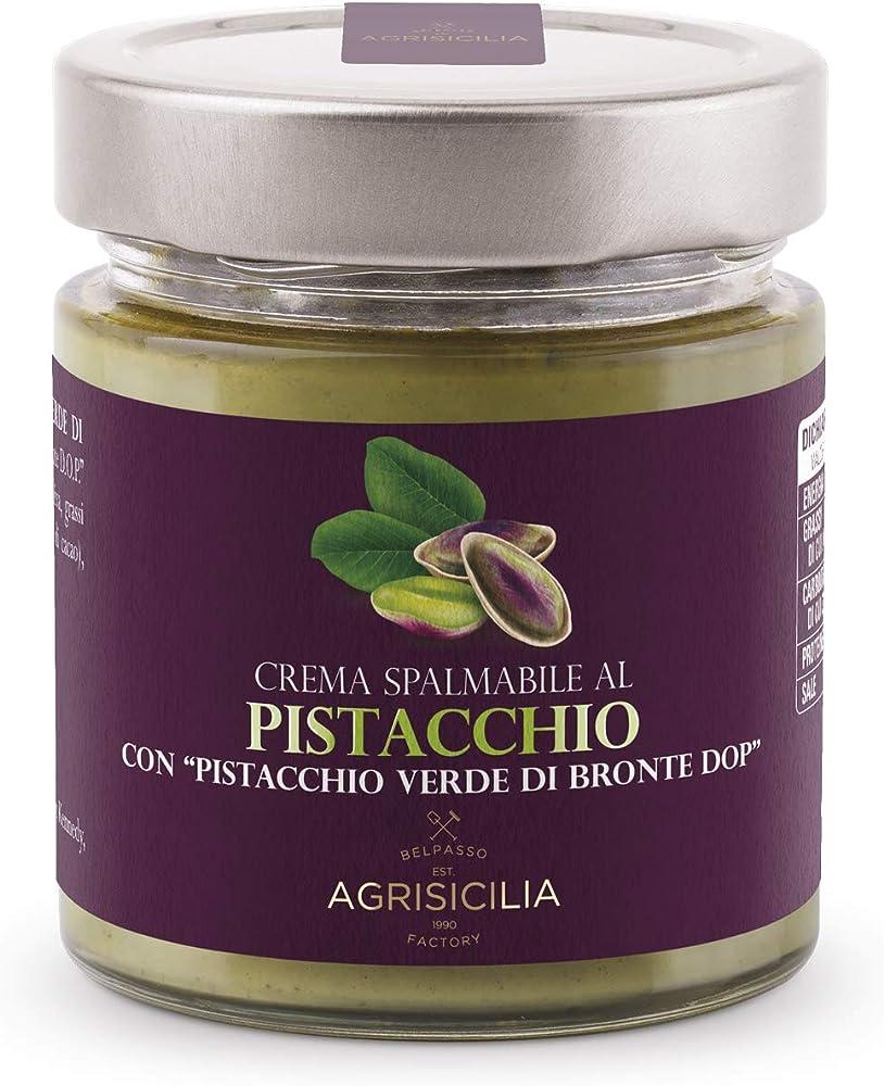 Agrisicilia, crema spalmabile al pistacchio, con pistacchio verde di bronte dop ,vasetto da 200 g