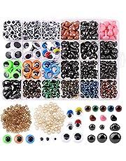 560Pieza Coloridos 6-14mm Ojos de Seguridad y Nariz de Seguridad, 350Pieza Ojos Manualidades Adhesivos, Ojos de Plásticos y Nariz de Plásticos con Arandela para la Muñeca de Peluche,Animales Rellenos