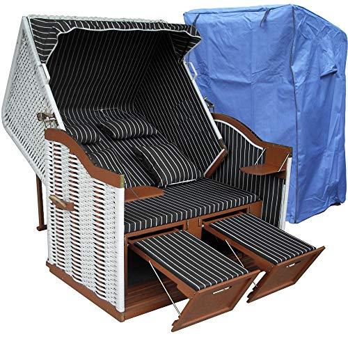 Strandkorb weiß grau XXL für Balkon inkl. Luxus Strandkorb Abdeckung - anthrazit grau mit weißem Polyrattan und braunem Holz, Form Ostsee Strandkorb