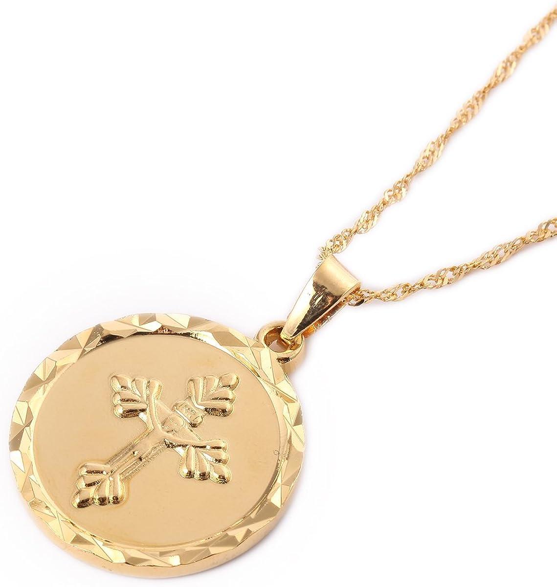 24K Gold Plated Catholic Round Medal Jesus Christ Crucifix Pendant Necklace Jewelry