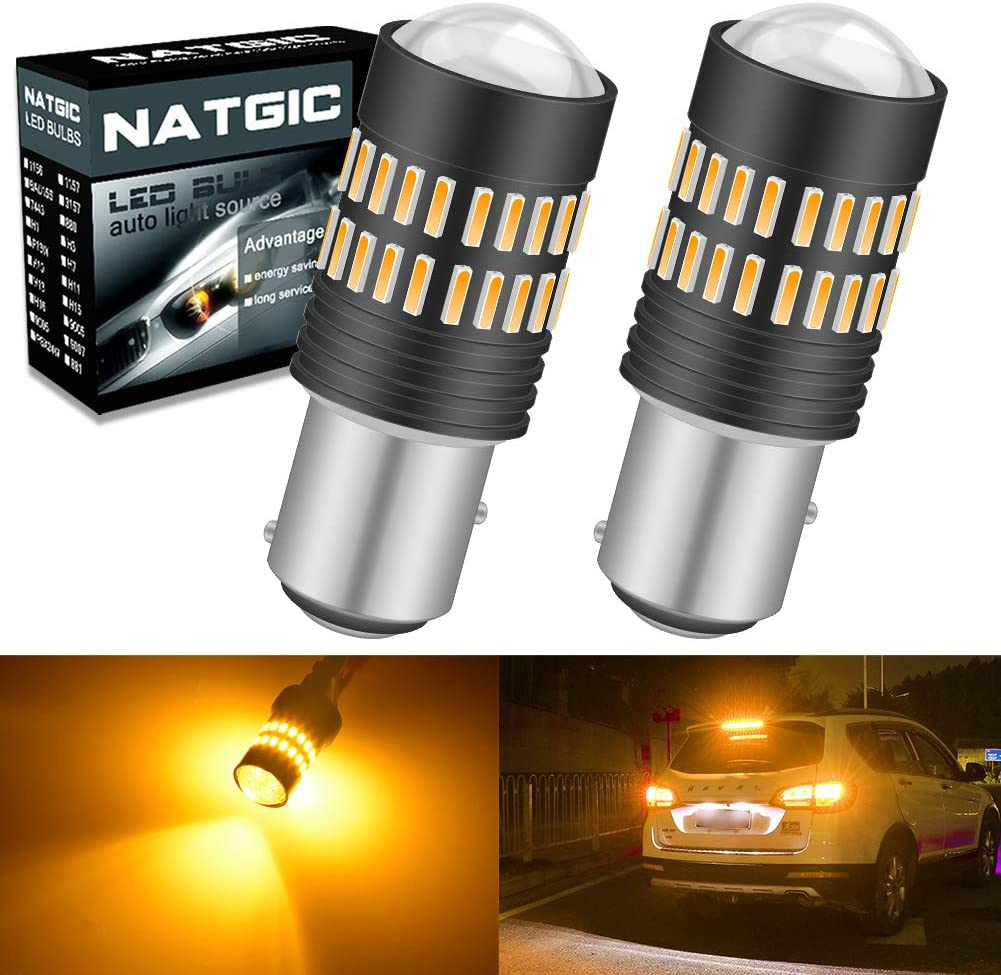 Amber NATGIC 1156 BA15S 7506 1095 1141 LED Bulbs 2400LM 48-SMD 4014 LED Chipsets with Lens Projector for Turn Signal Lights Pack of 2 Side Marker Lights Turn Blinker Lights