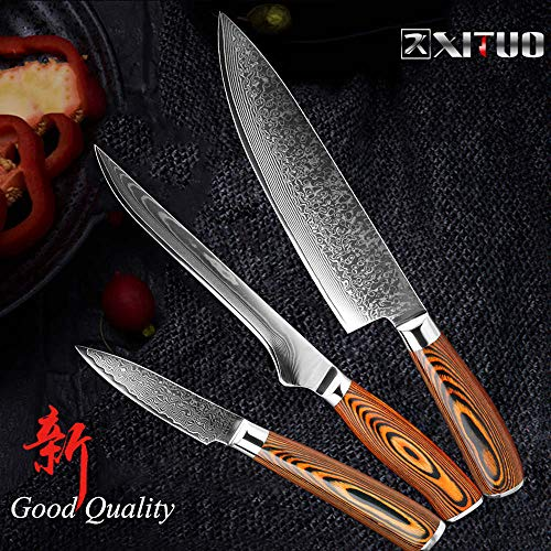 Best Quality Kitchen Knives 5.5 inch Boning knife super sharp Japanese VG10 steel kitchen Damascus Utility knives Color wood handle Fish knife gift