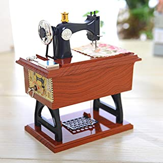 Hot Sale!DEESEE(TM)🌸🌸Vintage Music Box Mini Sewing Machine Style Mechanical Birthday Gift Table Decor