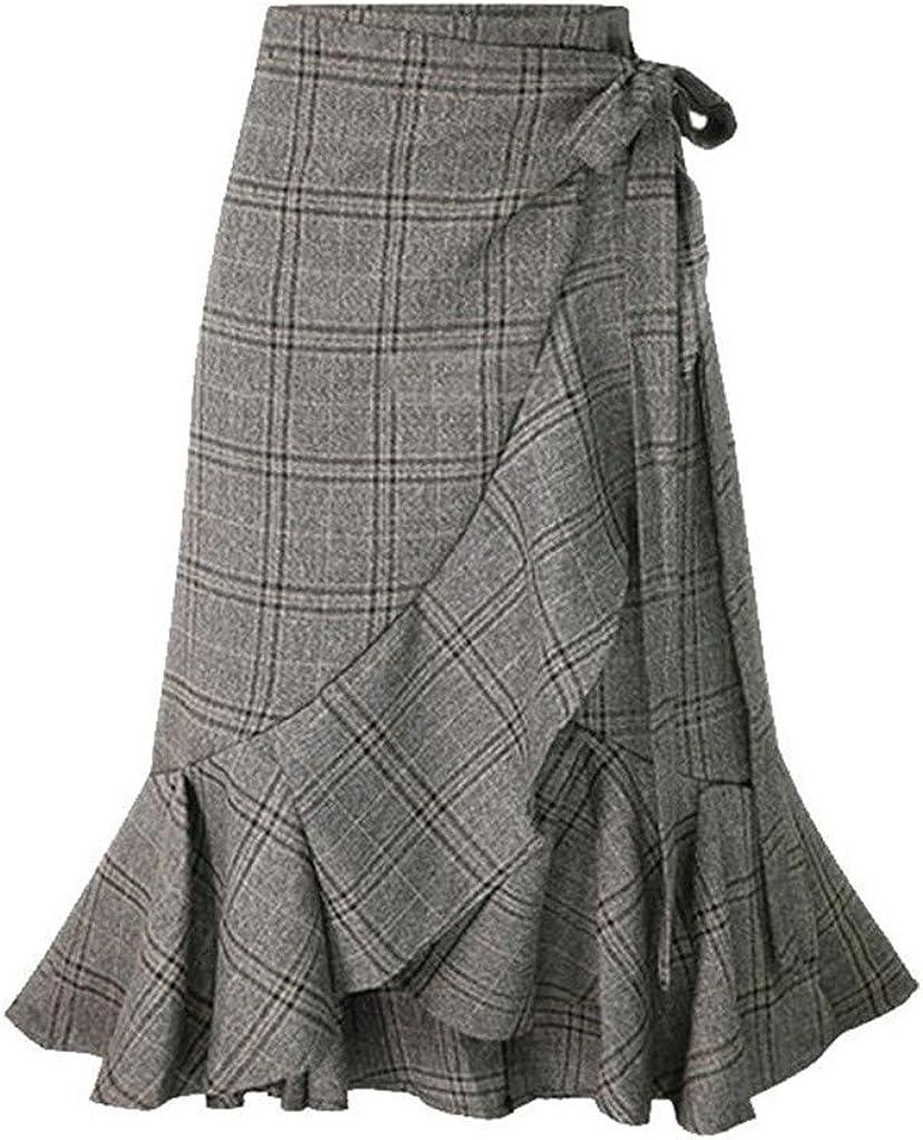 Holzkary Women's Elegant Work Wear Adjustable Waist Flounce A-Line Plaid Midi Wrap Skirt
