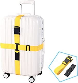Kalevel 2pcs Long Cross Luggage Straps Suitcase Belts with Black Add A Bag Travel Luggage Strap TSA Approved Luggage Belt - Yellow Luggage Suitcase Strap