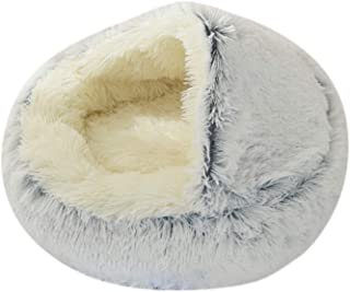#N/A Pet Bed- Round Soft Plush Nest Cave Hooded Cat Bed for Dogs & Cats, Faux Fur Cuddler Round Comfortable Self Warming I...