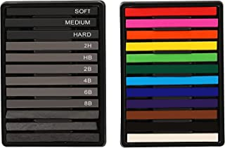 STAPENS Soft Pastels, Vine Charcoal and Graphite Sticks for Artists Drawing, Set of 24 Pcs