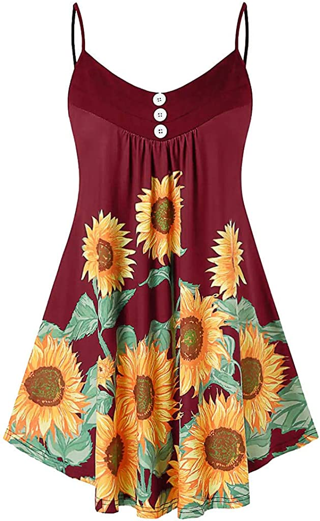 Sunflower Tunic Tank Tops for Women, F_Gotal Women's Summer Button V Neck Pleated Spaghetti Strap Camisole Tank Tops