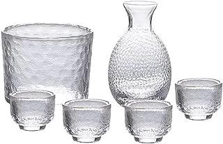 KCHAIN Glass Sake Warmer Set Cold sake Set, Sake Glass Set with 1PCS Sake Bottle 1PCS Glass Pot 4PCS Sake Shot Cups