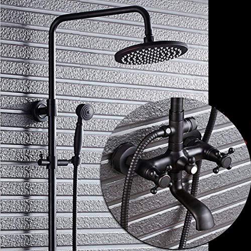 Sistema de ducha de cobre negro, conjunto combinado de ducha para baño Cabezal de ducha de lluvia con ducha de mano y grifo de ducha, sin óxido, sin decoloración