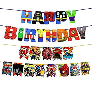 2 Pcs Superhero Banners Superhero Party Supply Superhero Happy Birthday Banner Party Supplies for Kids Birthday Party Decoration Spiderman Banners