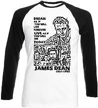 Té square1st Men 's James Dean Dream Quote 1Black sleeved Béisbol–Camiseta