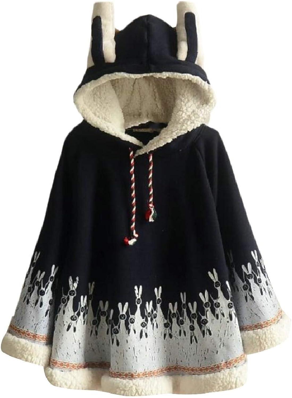 Xswsy XGCA Women's Cute Cosplay Fleece Blend Rabbit Ears Hooded Cape Poncho Hoodie