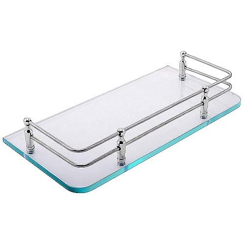 Klaxon Front Glass Shelf - Bathroom Front Glass Shelves (Chrome Finish)-12*6