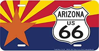 Signs 4 Fun S4L6AF Route 66 Az Flag and Shield License Plate, Blue