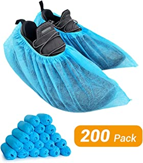 LyncMed | 200 Pack Shoe and Boot Covers, Disposable Shoe Covers, Shoe Cover Booties for Indoors, Hospital & Construction, Non-slip Reusable & Water Resistant, Blue, Size Large Fits Most