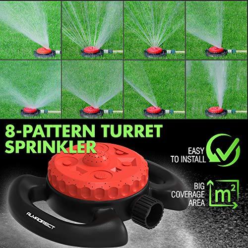Almadirect Lawn Sprinkler - Garden Water Sprinkler - 8 Pattern Turret Sprinkler - Adjustable Irrigation System - Large Area Coverage Water Hose Sprinklers for Yards and Gardens Watering