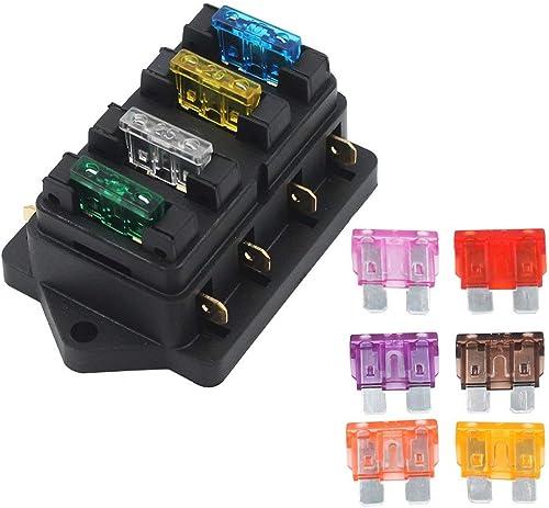 Gebildet 32V 40A 4 Voies Standard Boîte à Fusibles, Imperméable 6,3 mm Fuse Box Holder, avec 10 pièces Fusible à Lame...