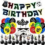 Decoración para tartas de Star Wars,47 pcs decoración para tartas de Star Wars, decoración de tartas para fans de Star Wars,cumpleaños Bandera Pastel Tarjeta de inserción Juego de Globos temáticos