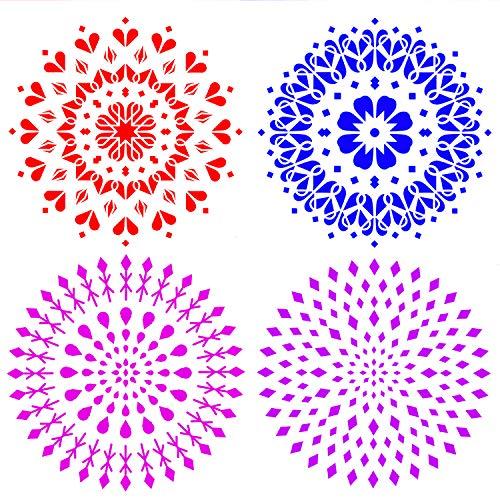 Demason Mandala Plantilla, DIY Plantilla, (4 Pack), Plantillas para Estarcir, Pintar en Paredes, Aparadores Robas Vidrios Porcelanas Patrones, Scrapbooking, Ecológica y Reutilizable(30,5×30,5cm)