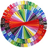 Outuxed 120pcs 9 Inches 14 Inches 18 Inches Mixed Nylon Coil Zippers Colorful Sewing Zippers for Tailor Sewing...
